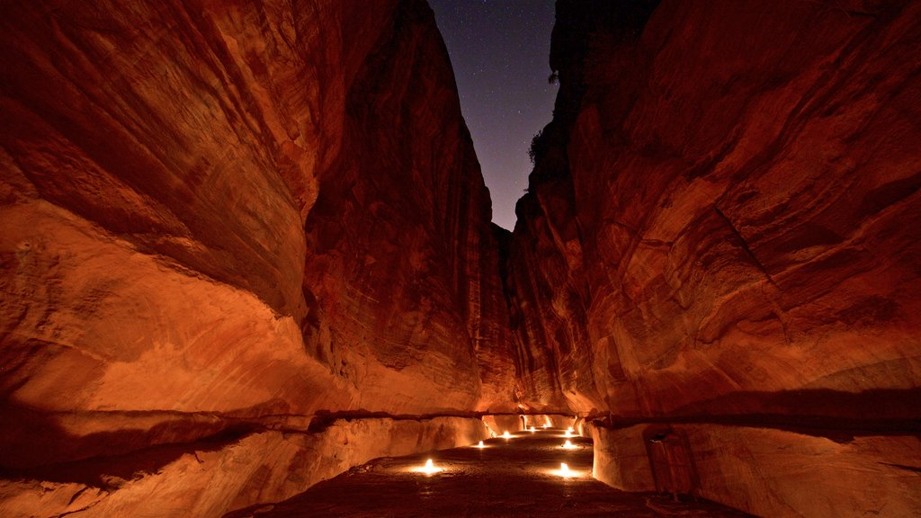 Wadi Musa showing a gorge or canyon and night scenes