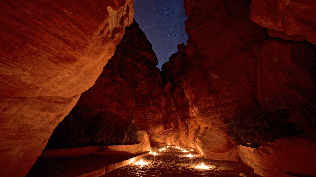 Wadi Musa which includes a gorge or canyon and night scenes