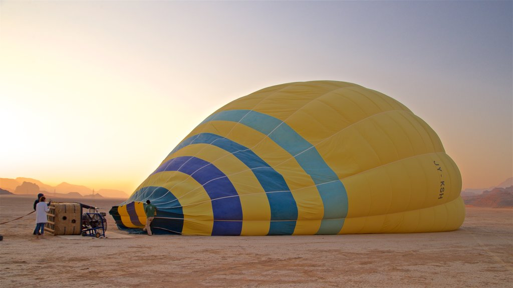 Wadi Rum featuring landscape views, ballooning and desert views