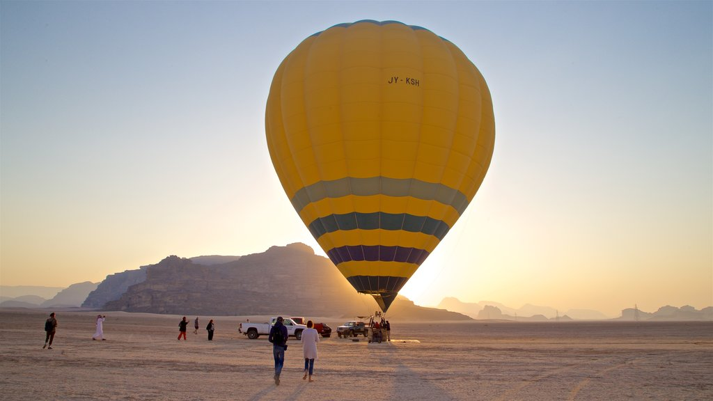 Wadi Rum which includes ballooning, desert views and a sunset