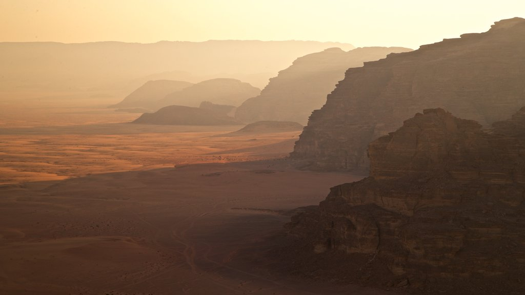 Wadi Rum which includes desert views, landscape views and a sunset
