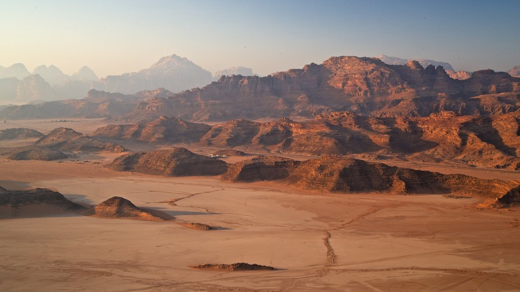 Wadi Rum showing landscape views, a gorge or canyon and desert views