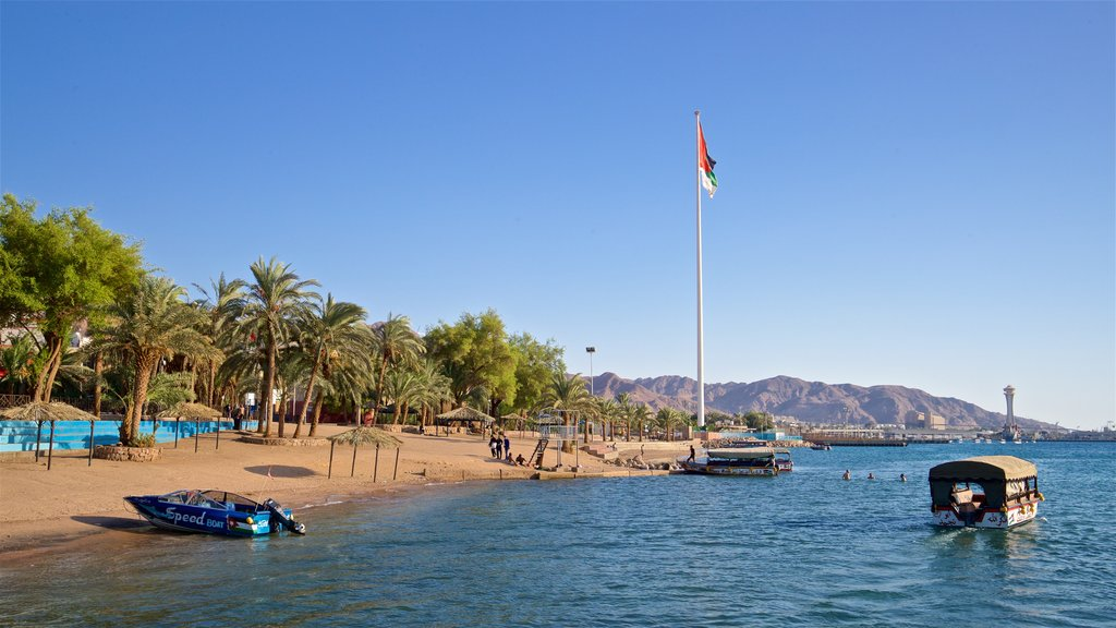 Aqaba showing general coastal views, tropical scenes and a beach