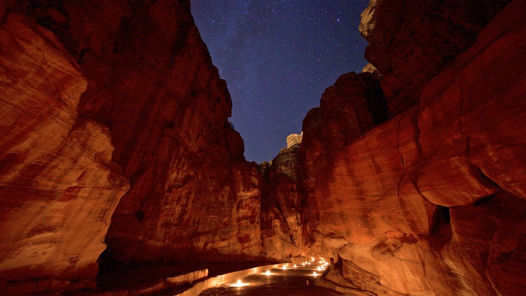 Wadi Musa which includes night scenes, northern lights and a gorge or canyon