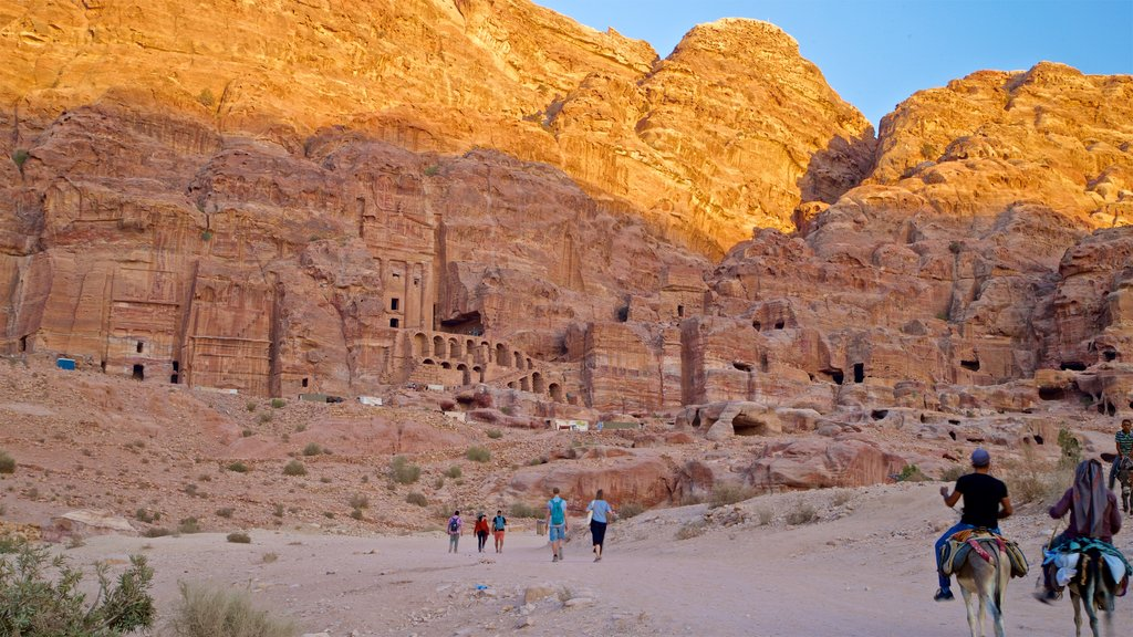 Wadi Musa showing a gorge or canyon, horseriding and heritage architecture