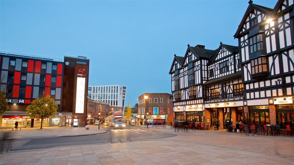 Coventry featuring night scenes and a square or plaza