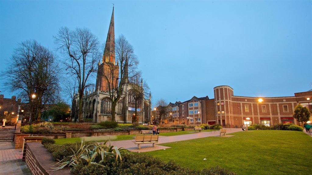 Coventry which includes a church or cathedral, a park and heritage architecture