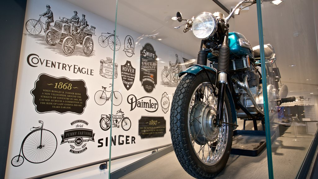 Coventry Transport Museum showing heritage elements and interior views