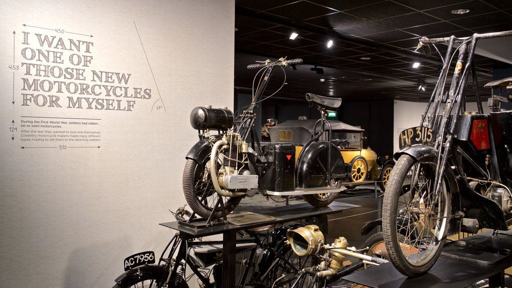 Coventry Transport Museum featuring interior views and heritage elements