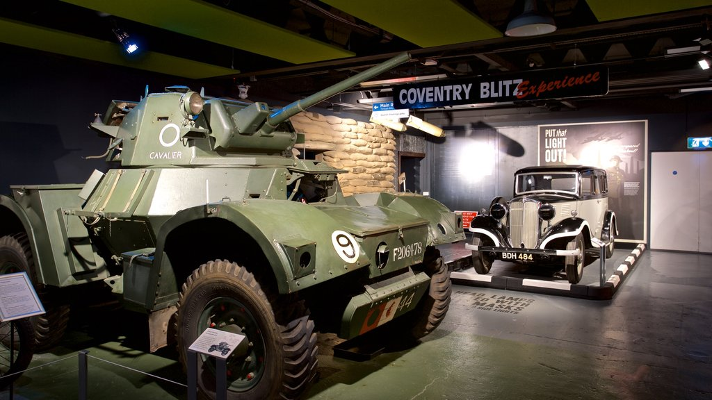 Coventry Transport Museum featuring heritage elements, interior views and military items