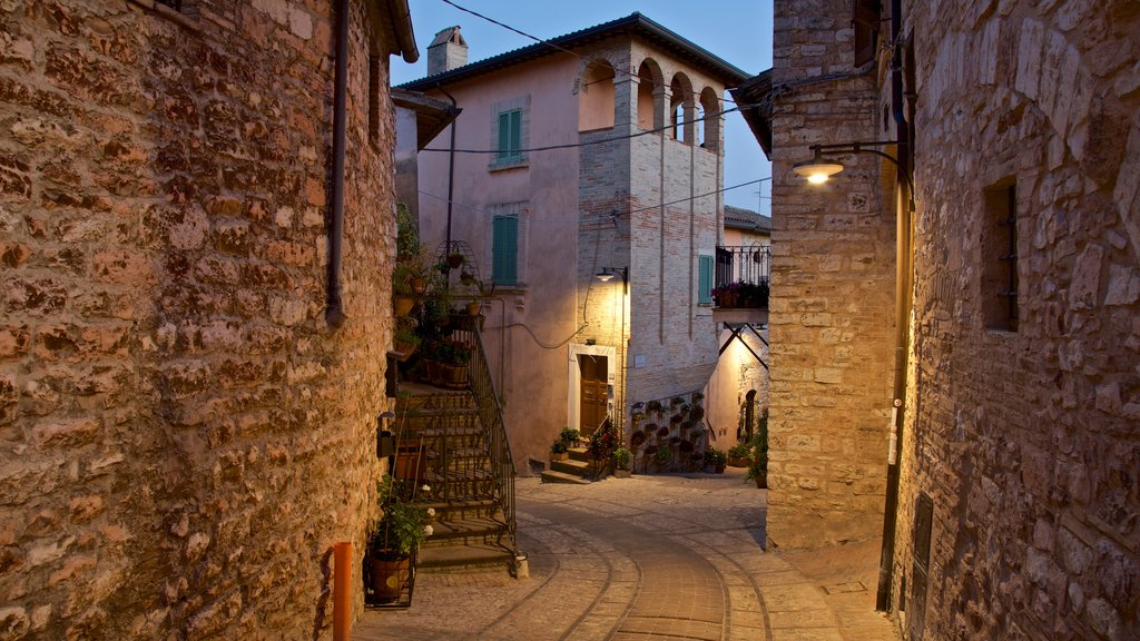 Spello featuring night scenes