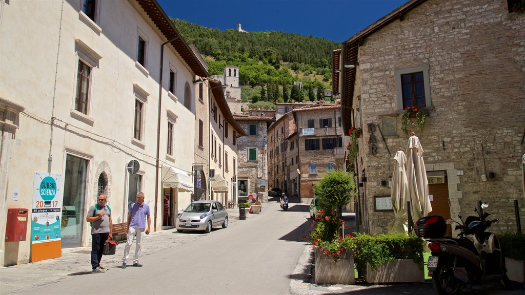 Gubbio featuring street scenes as well as a couple