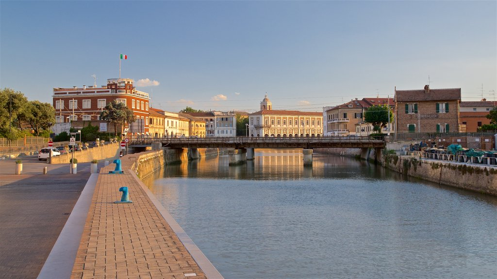 Senigallia showing a bridge, a sunset and a river or creek