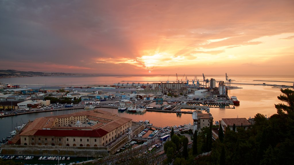 Mole Vanvitelliana which includes a sunset, landscape views and a marina