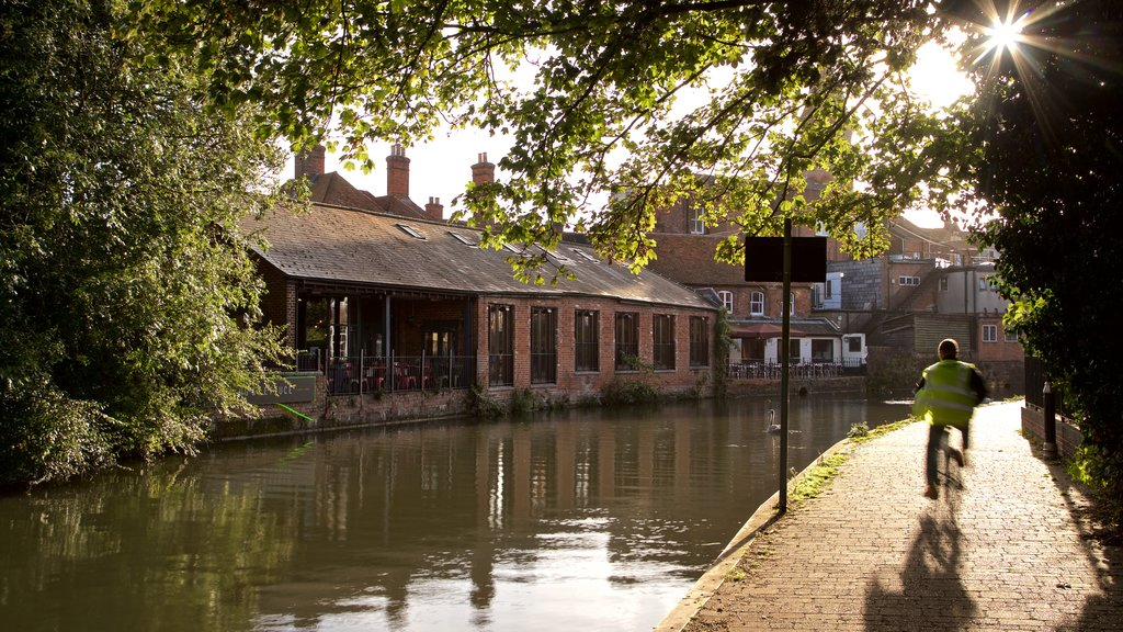 Newbury which includes a river or creek, a sunset and cycling
