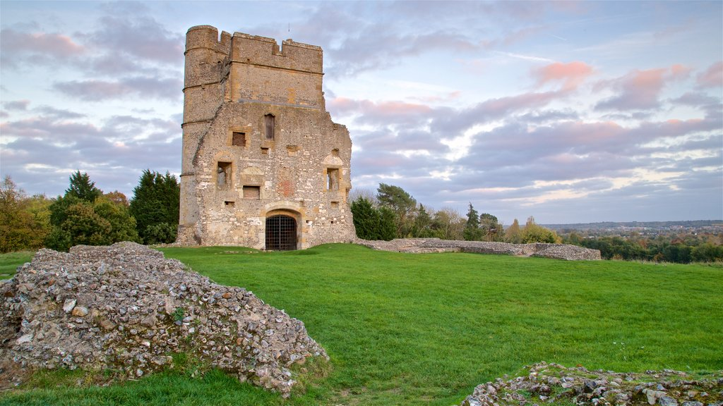 Donnington Castle showing heritage elements, a ruin and landscape views