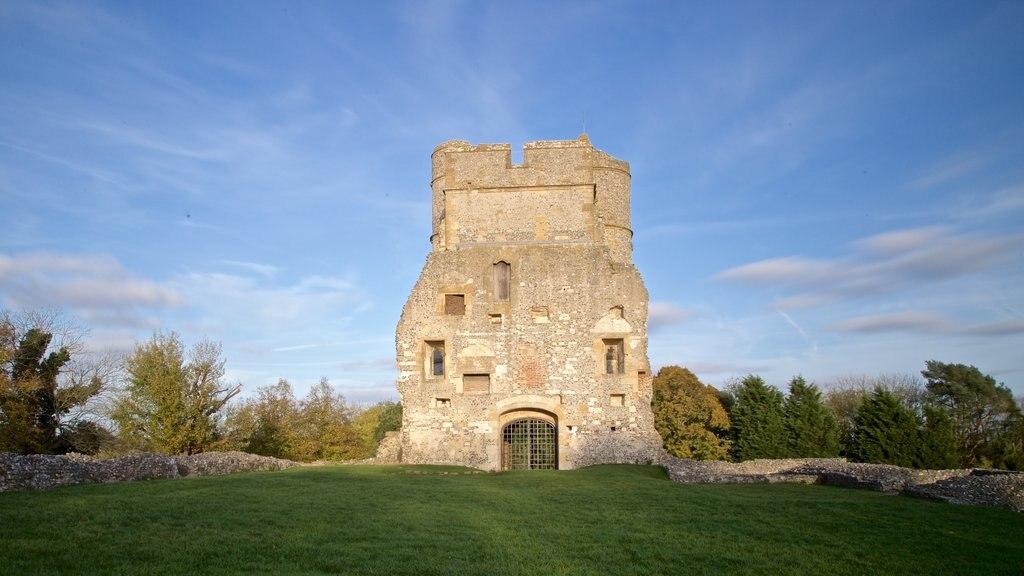 Donnington Castle ofreciendo vistas de paisajes, patrimonio de arquitectura y una ruina