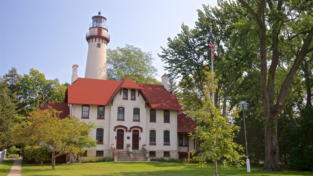 Grosse Point Lighthouse which includes a lighthouse and a house
