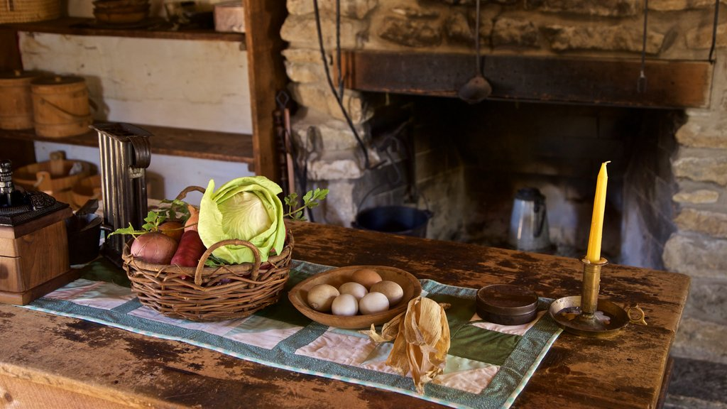 Naper Settlement Museum featuring interior views and food