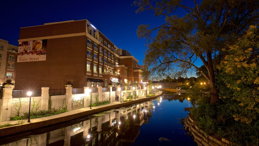 Naperville featuring a river or creek and night scenes