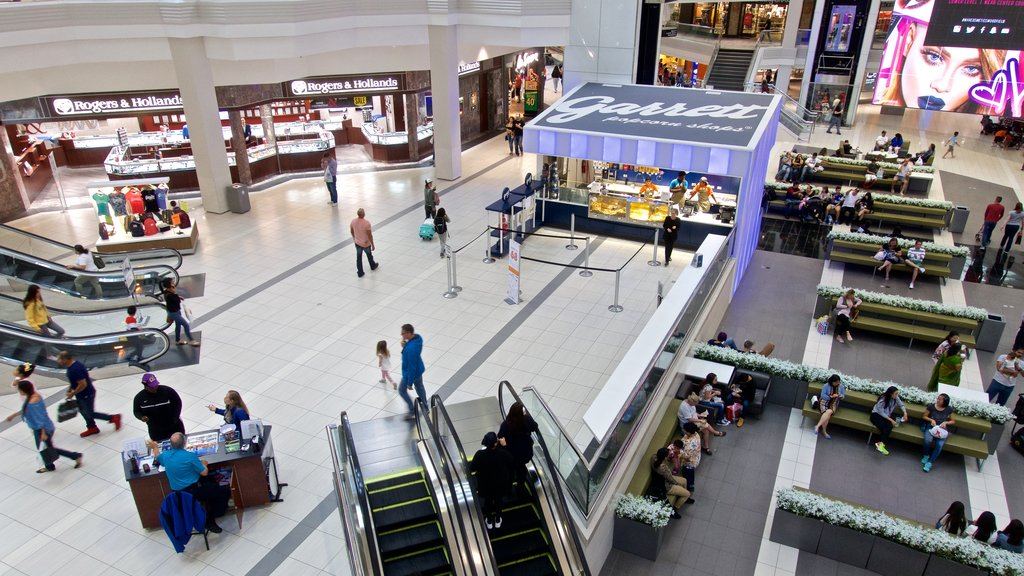Woodfield Mall which includes shopping and interior views