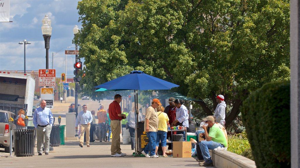 Western Illinois showing street scenes and markets as well as a small group of people