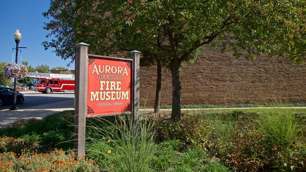 Aurora Regional Fire Museum which includes a park and signage