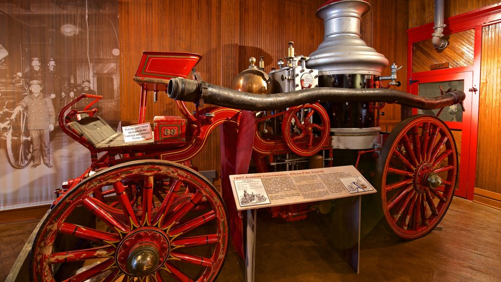 Aurora Regional Fire Museum featuring heritage elements, signage and interior views