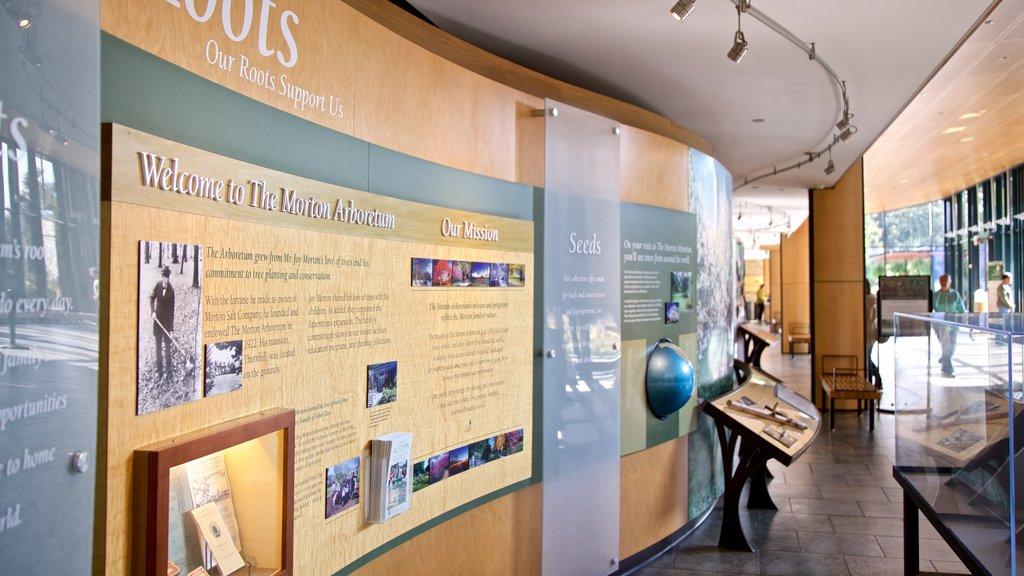 Morton Arboretum featuring signage and interior views