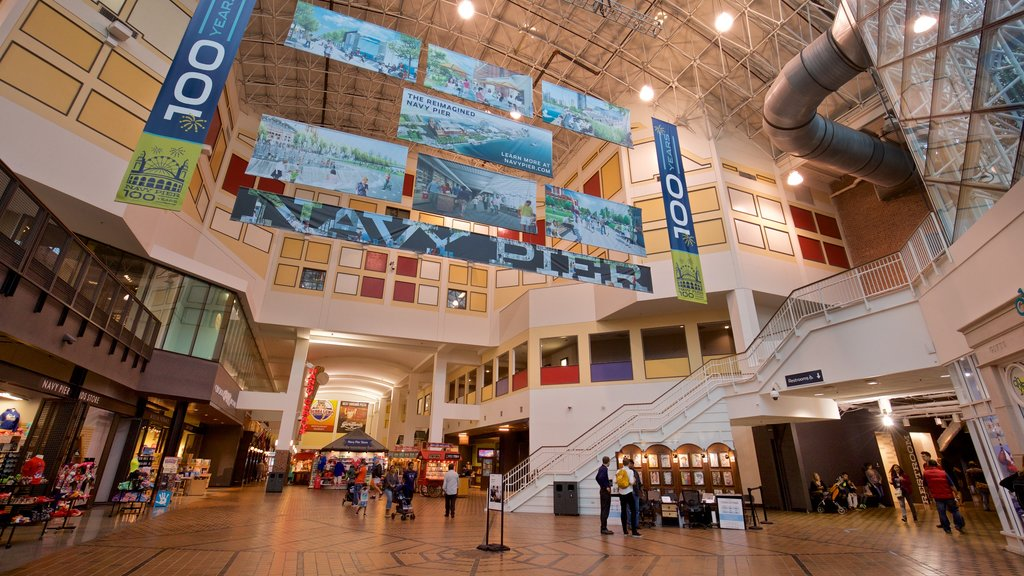 Navy Pier showing shopping and interior views