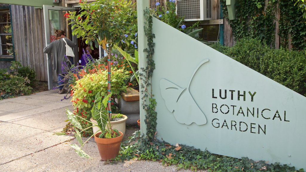 Luthy Botanical Garden featuring signage and wildflowers