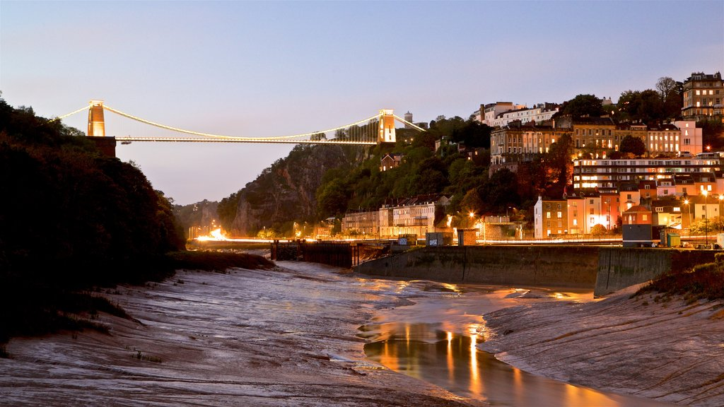 Bristol featuring a river or creek, a bridge and a sunset