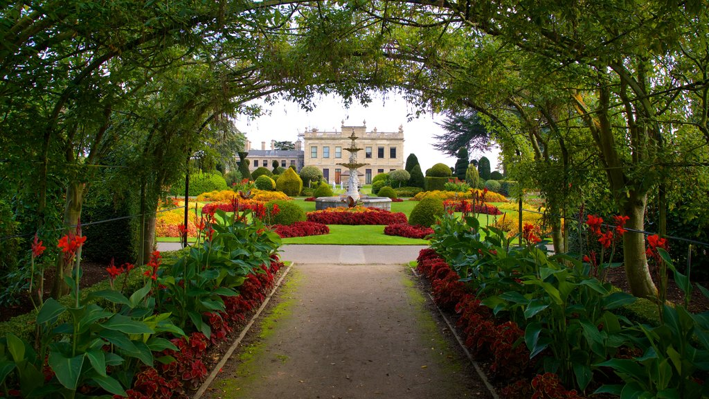 Brodsworth Hall showing a fountain, flowers and a park