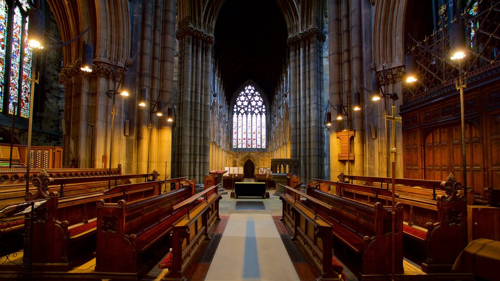 Doncaster Minster which includes heritage elements, a church or cathedral and interior views