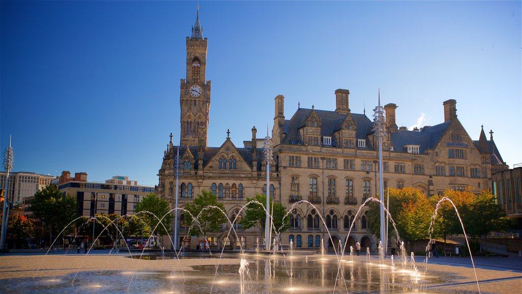 Bradford City Park which includes heritage architecture and a fountain
