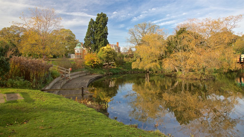 Bletchley Park showing a pond