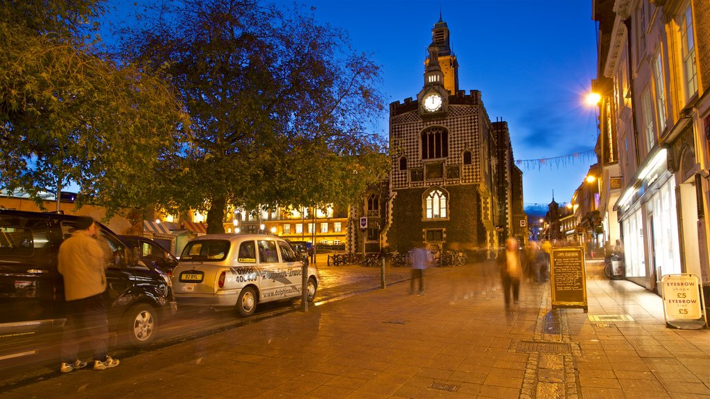 Norwich Guildhall which includes night scenes and heritage elements