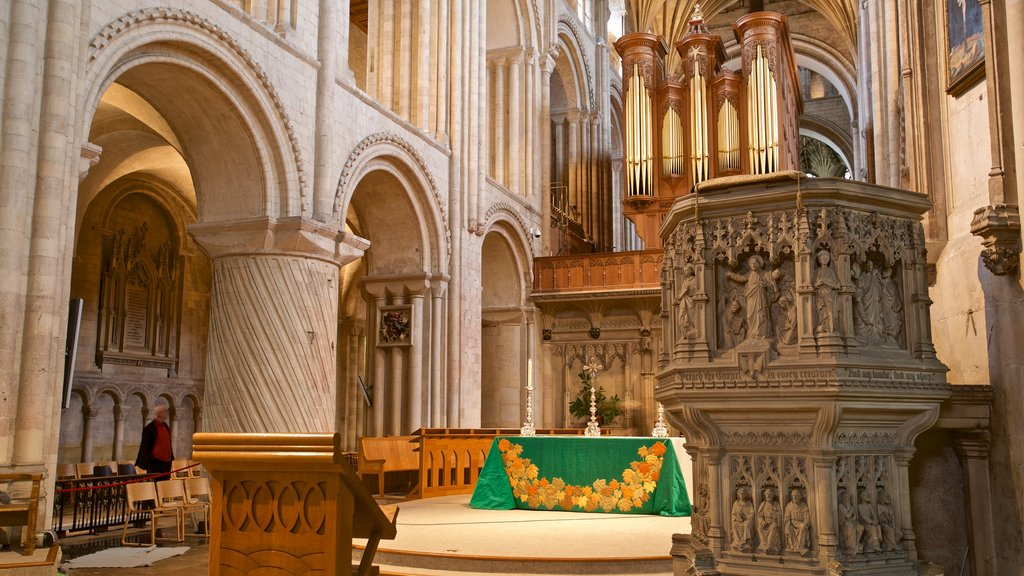 Norwich Cathedral which includes a church or cathedral, heritage elements and interior views