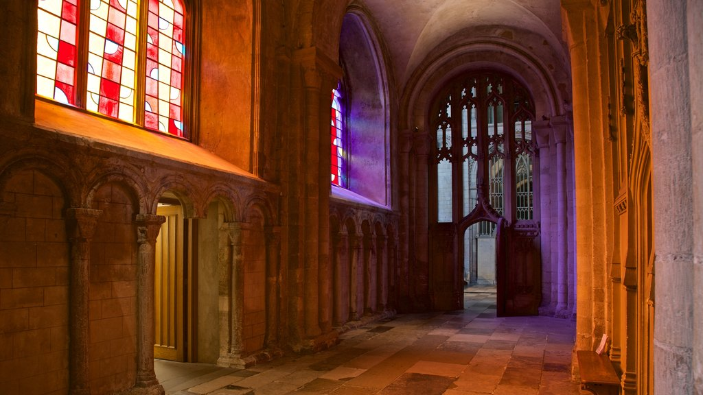 Norwich Cathedral featuring a church or cathedral, interior views and heritage elements