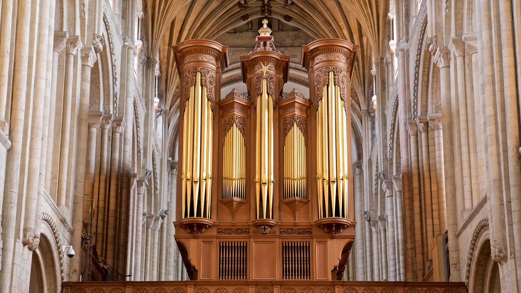 Norwich Cathedral featuring interior views, heritage elements and a church or cathedral