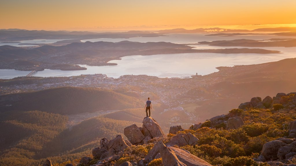 Hobart which includes a sunset, tranquil scenes and landscape views