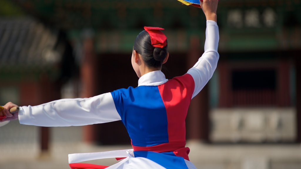 Gyeongbok Palace featuring street performance and performance art as well as an individual femail