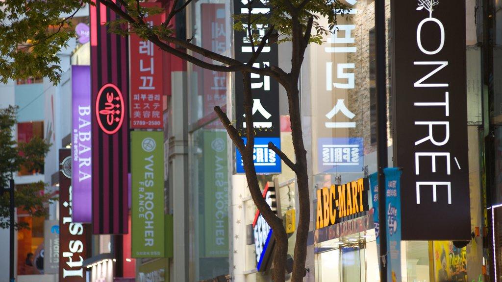 Myeongdong showing a city, city views and signage