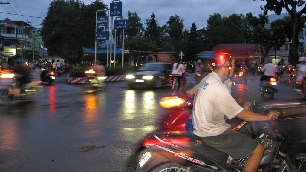 Nha Trang showing night scenes, street scenes and motorcycle riding
