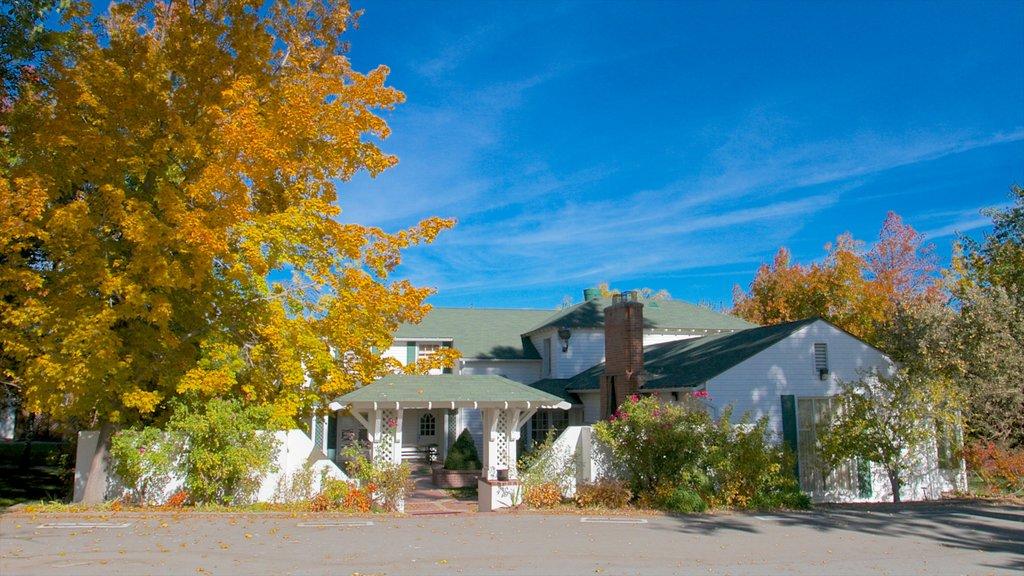 Rancho San Rafael Park mostrando una pequeña ciudad o pueblo, una casa y hojas de otoño