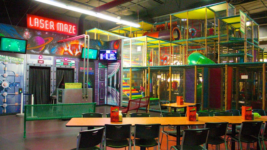 Wild Island Family Adventure Park showing signage and interior views