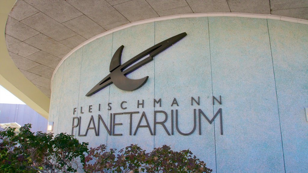 Fleischmann Planetarium and Science Center featuring modern architecture and signage