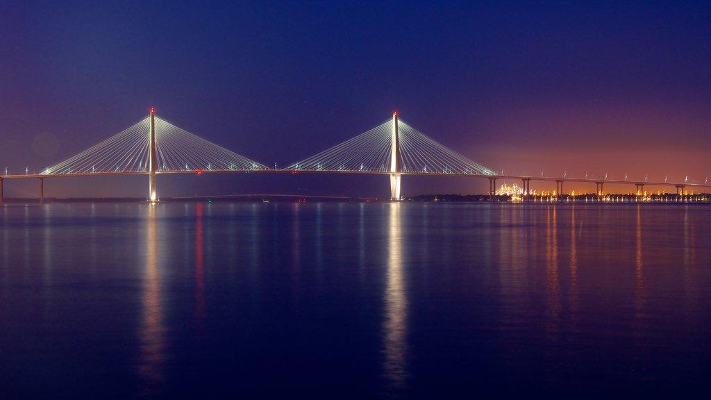Charleston Waterfront Park mostrando escenas nocturnas
