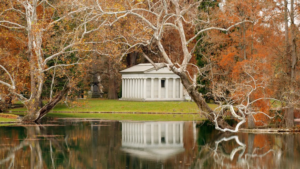 Spring Grove Cemetery which includes a memorial, a cemetery and a lake or waterhole