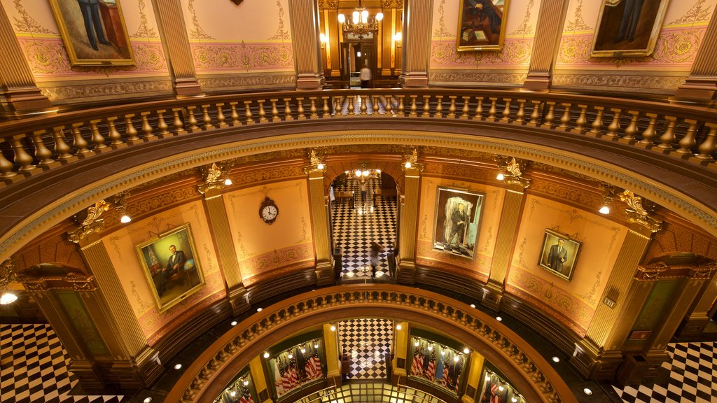 Michigan State Capitol featuring interior views, heritage elements and art
